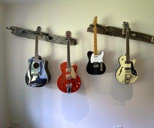 从橡木浮木的吉他吊架
