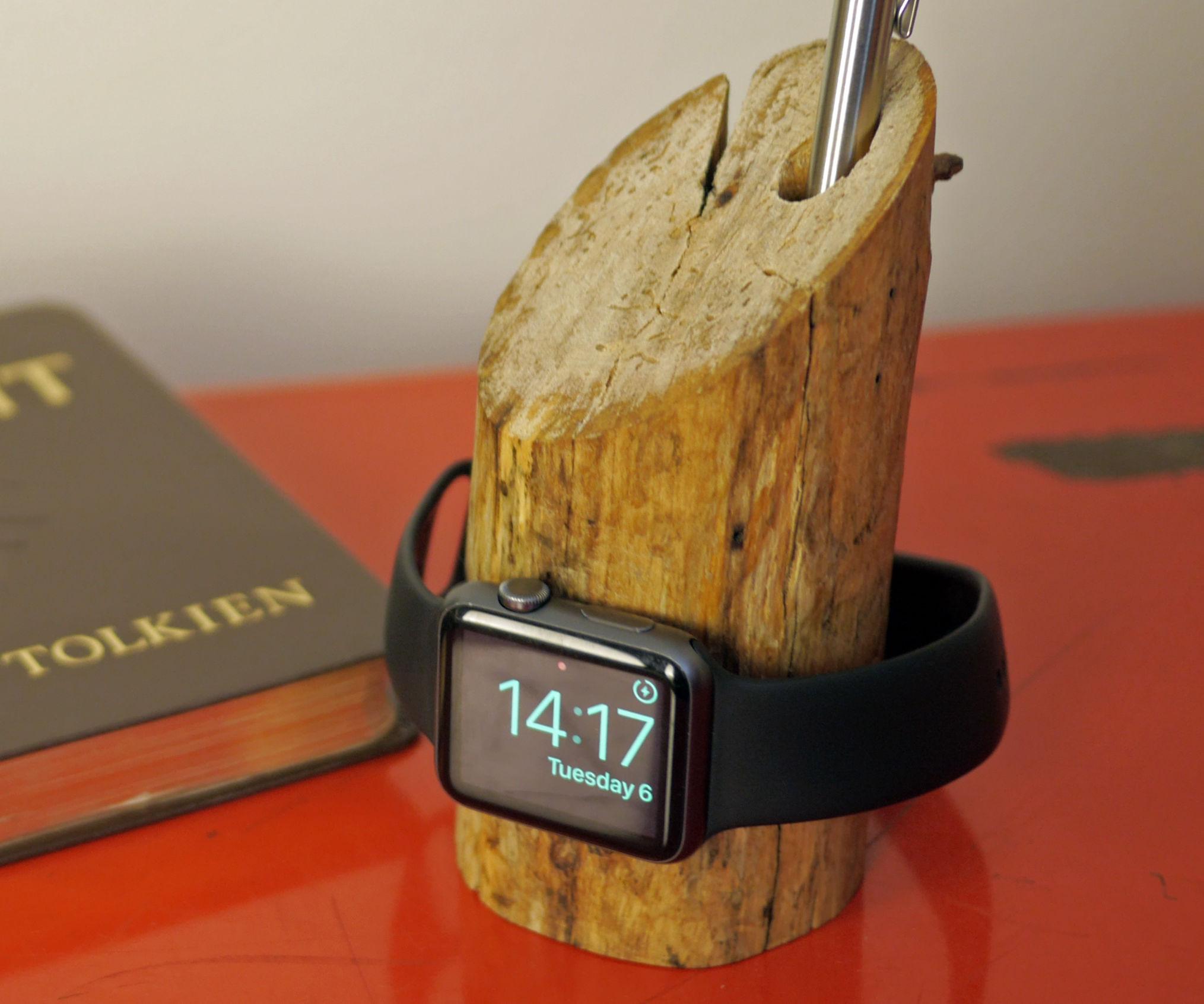 A Rustic Apple Watch Dock