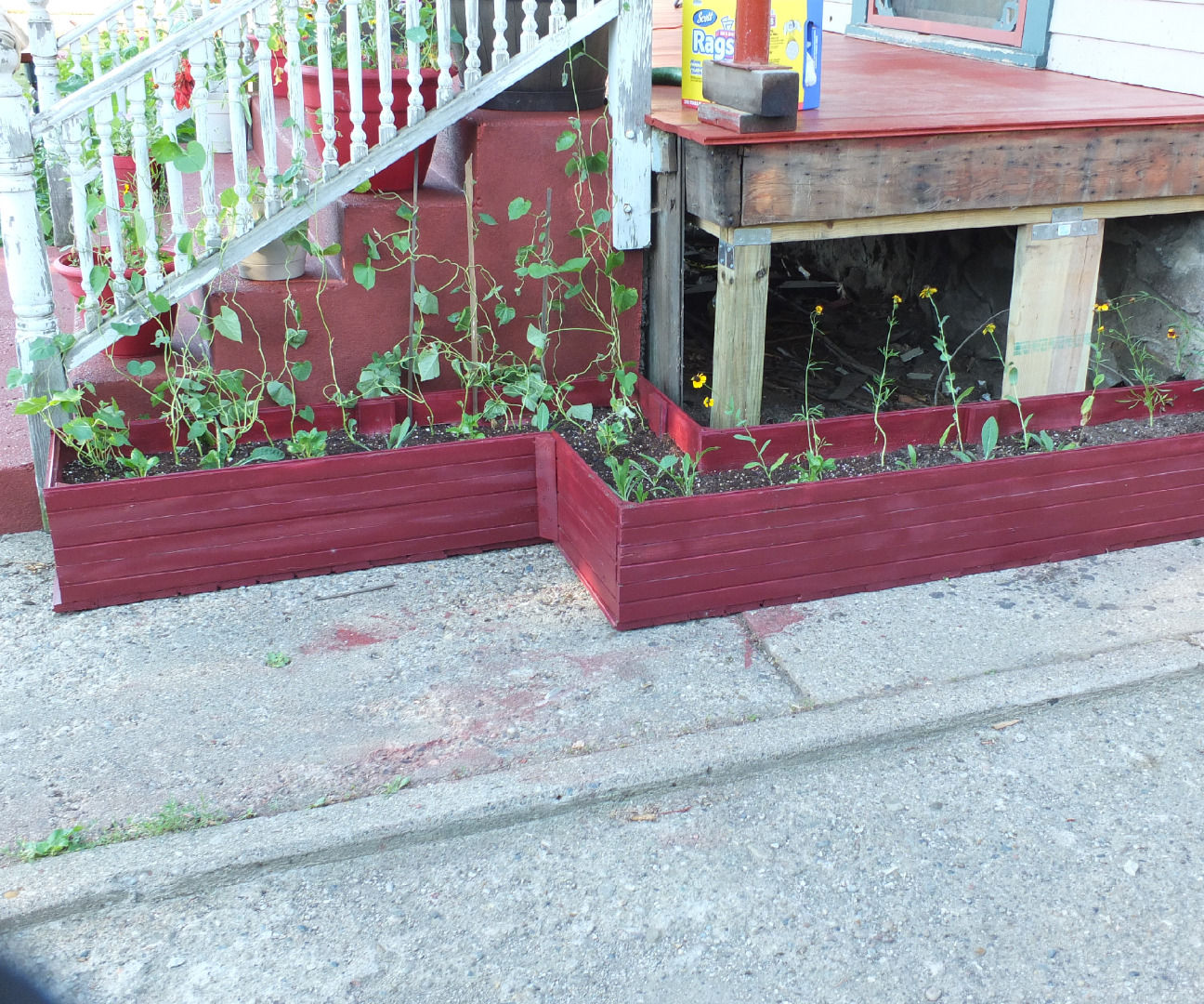 Custom shaped planter box out of old tounge-in-grove boards