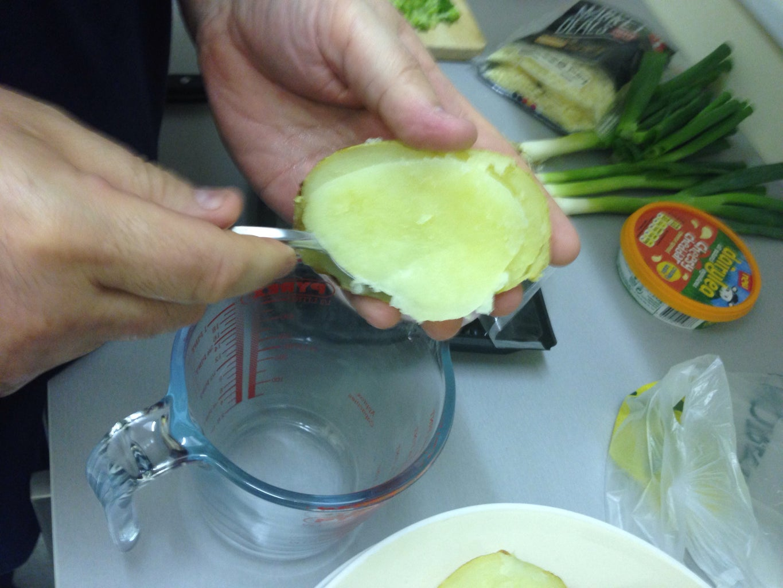 Cut Open Potatoes, Scrape Out Potato