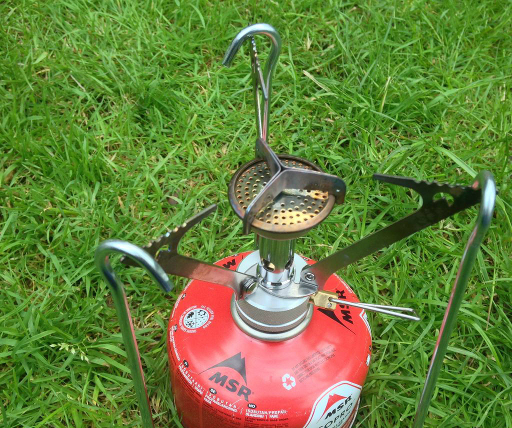 Gas stove hack, pot stand from tent pegs