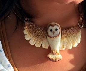 Good Luck Charm Polymer Clay Owl Pendant