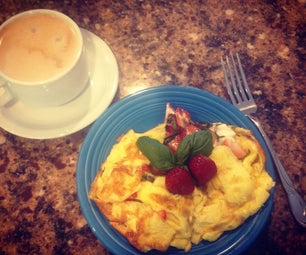 Strawberry, Basil, Goat Cheese Breakfast Omelette