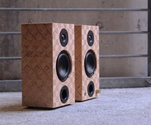 Patterned Plywood Bookcase Speakers