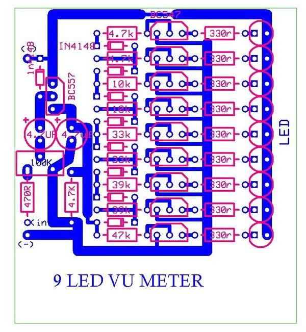 9 LED VU Meter Runs From 12v
