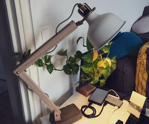 Wood Industrial Lamp Desk