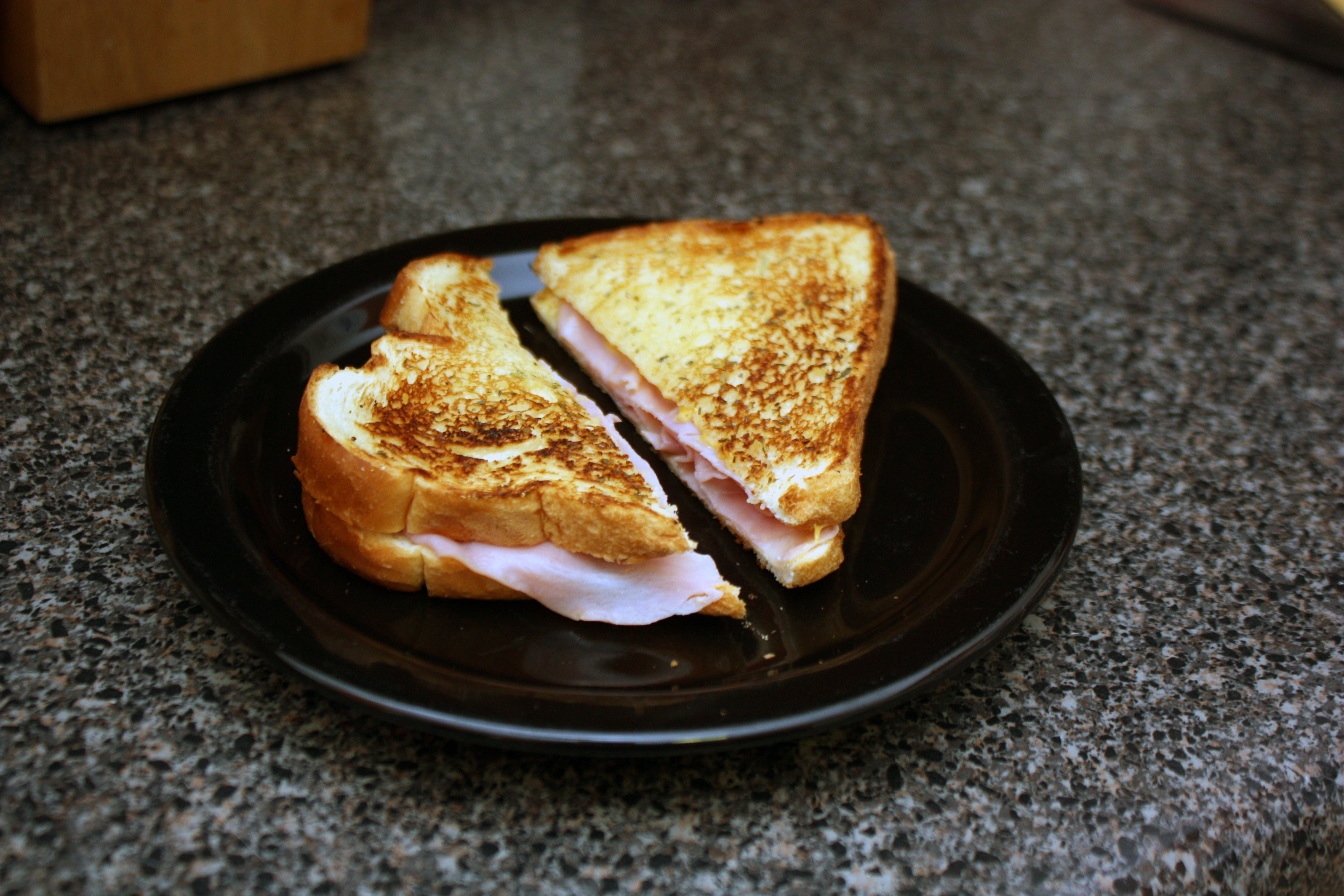 Classic Hot Ham and Cheese with a Garlic Italian Twist
