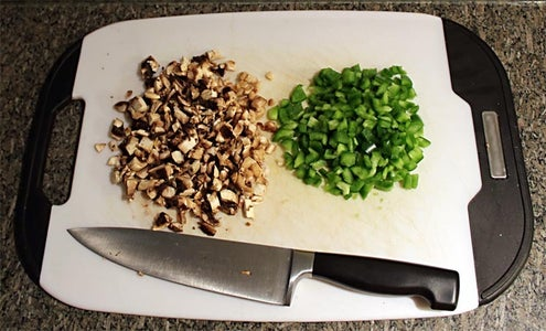 Mince Garlic and Dice Onion, Mushroom and Green Pepper