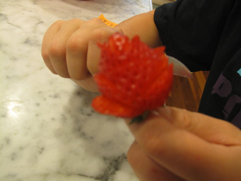 Making the Chocolate Strawberry Rose.