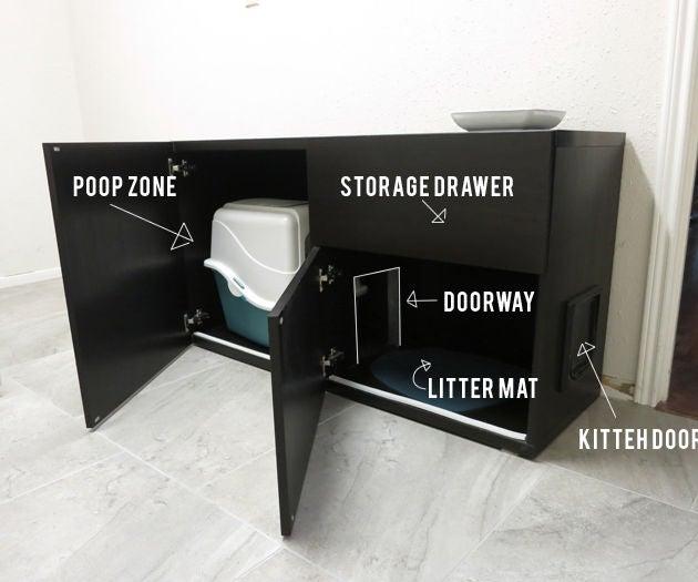 Diy Cat Box Cabinet Ikea 4, Cat Litter Box Furniture Ikea