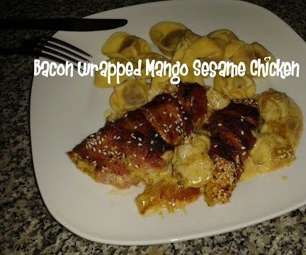 Bacon Wrapped Mango Sesame Chicken Recipe