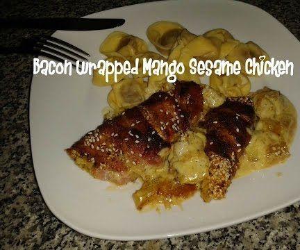 Bacon Wrapped Mango Sesame Chicken Recipe