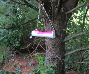 A Shampoo Bottle Bird Feeder
