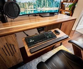 DIY Walnut and Leather Keyboard Tray