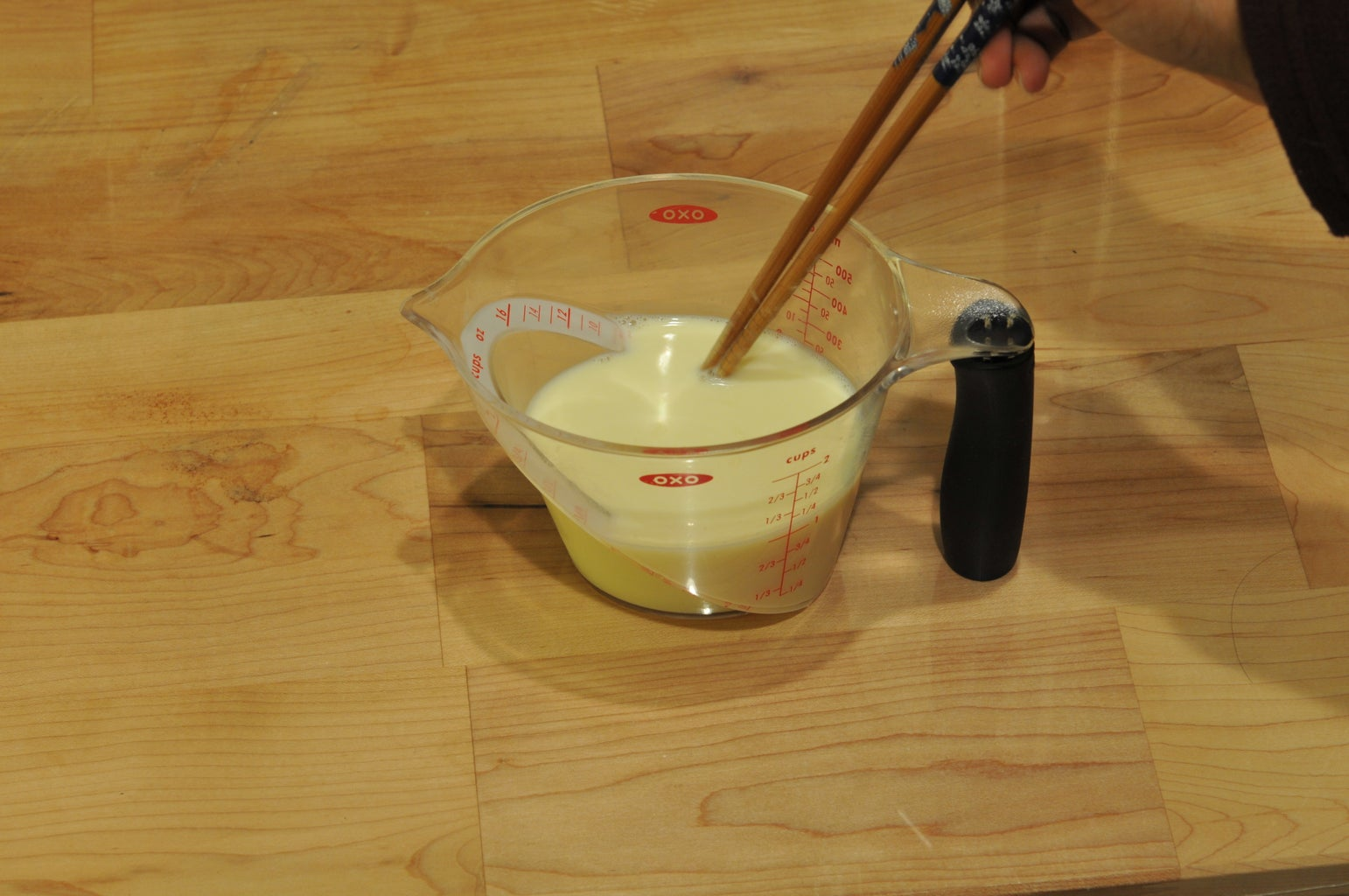 Pour the Beaten Egg Into the Milk and Mix