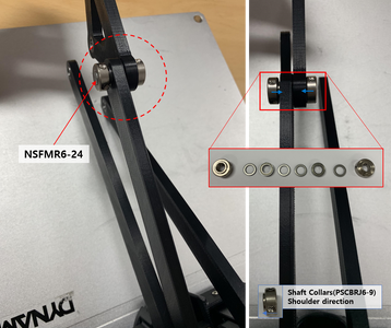 Assemble a Rotation Axis With the Link 200 B Installed in Step 10 and a Triangle Link and Axis Parts (a Shaft (NSFMR6-24), Shaft Collars (PSCBRJ6-9), Bearings and Spacers (MSRB6-1.0)).