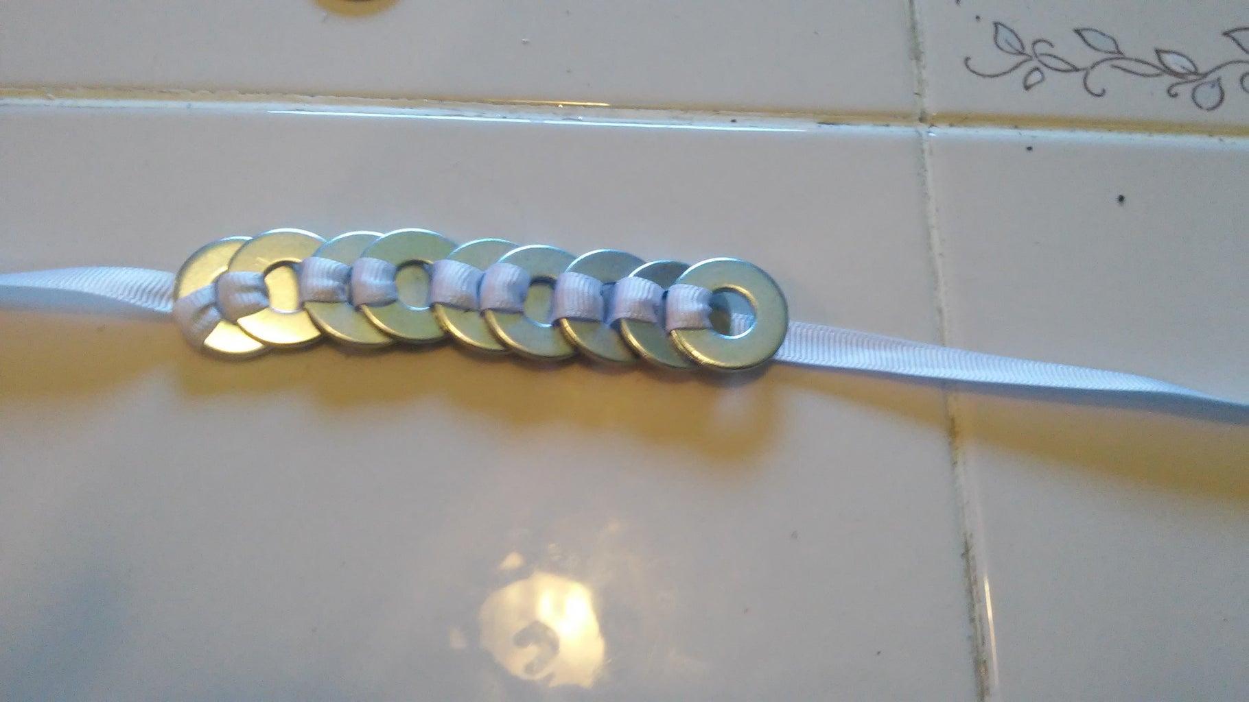 Weave Ribbon Through Washers