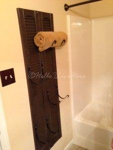 Hang the DIY Shutter Towel Rack on the Wall