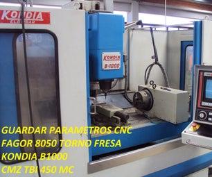 Salvar Parametros Kondia B1000 Y CMZ TBI 450 MC CON  CONTROL FAGOR8050