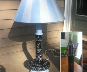 Lamp Project.  Adding New Life With Internal Night Light and Painted Shade