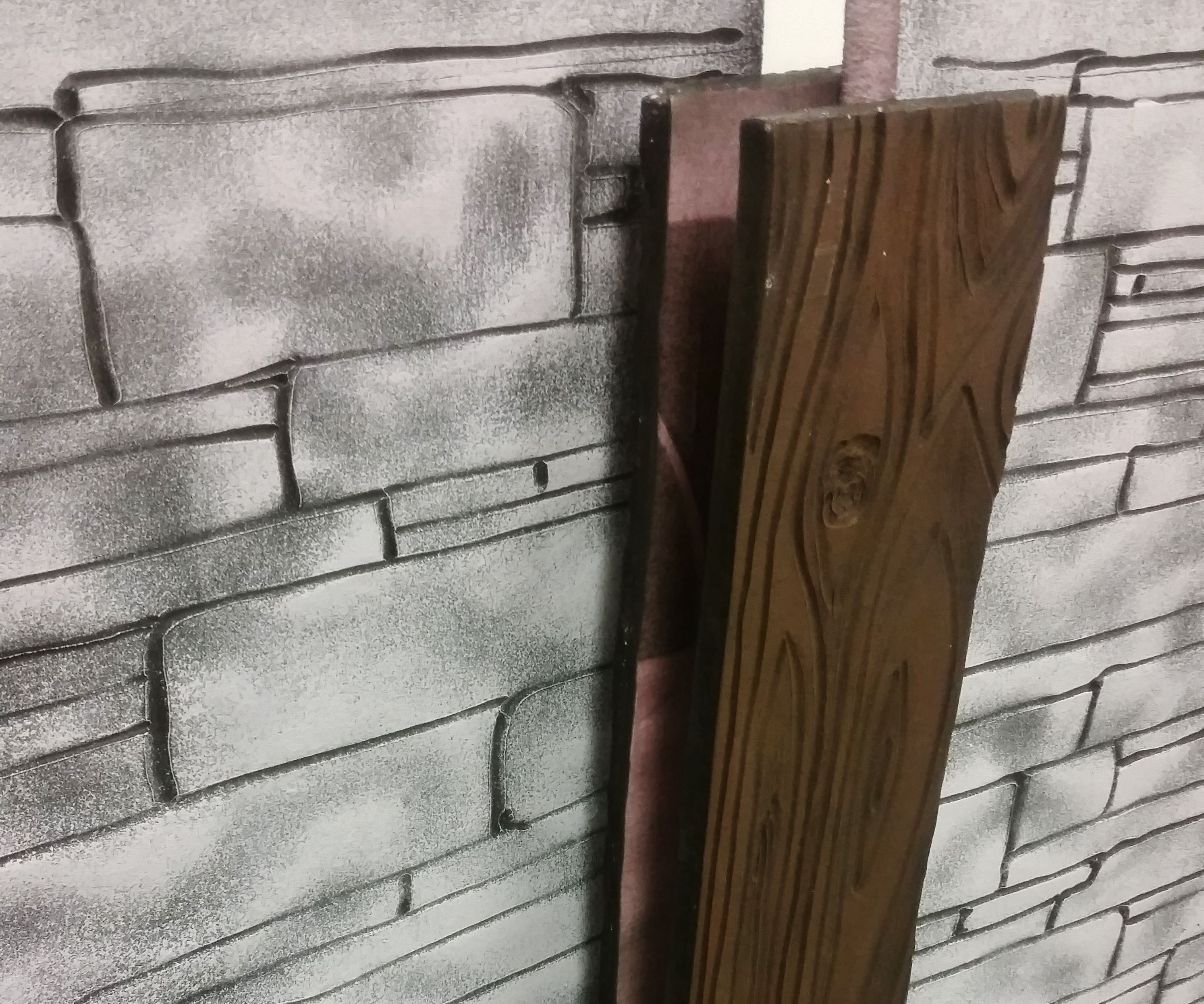 Faux Foam Facades: Wood Planks and Stone Walls