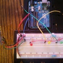 Potentiometer values shown by LED's