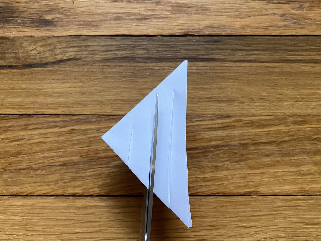 Make Three Evenly-Spaced Cuts in the Triangle.