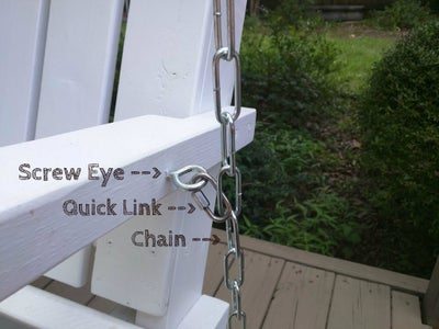 After the Swing Is Hung, Insert Screw Eye Into Arm Rest and Attach to Chain.
