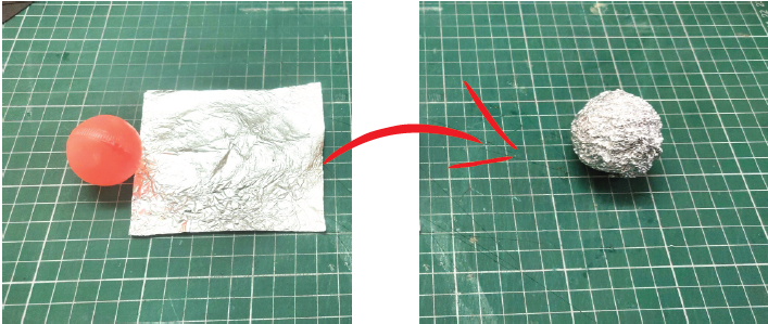 Now Take the Pong Ball and Aluminium Foil and Wrap the Foil Around It.
