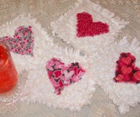 How to Make Valentine Raggedy Heart Coasters