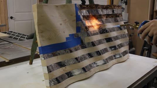 Burning the Stripes, Untaping, & Spot Sanding