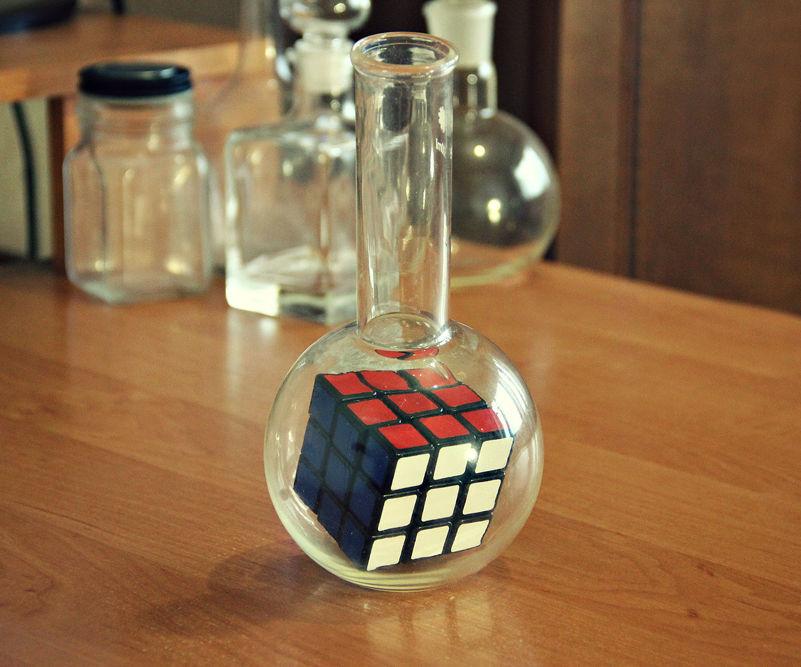 Rubik's Cube in a flask