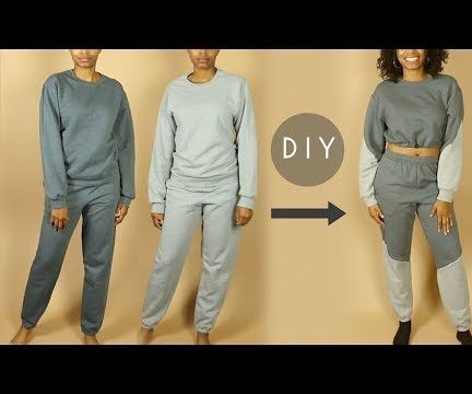 DIY Color Block Crop Top Sweatshirt & Sweatpants (Beginners Sewing)