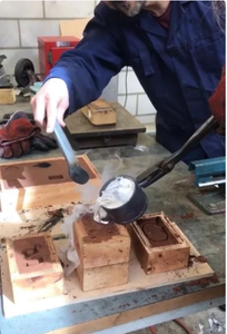 Melting Metal and Pouring It in the Mold