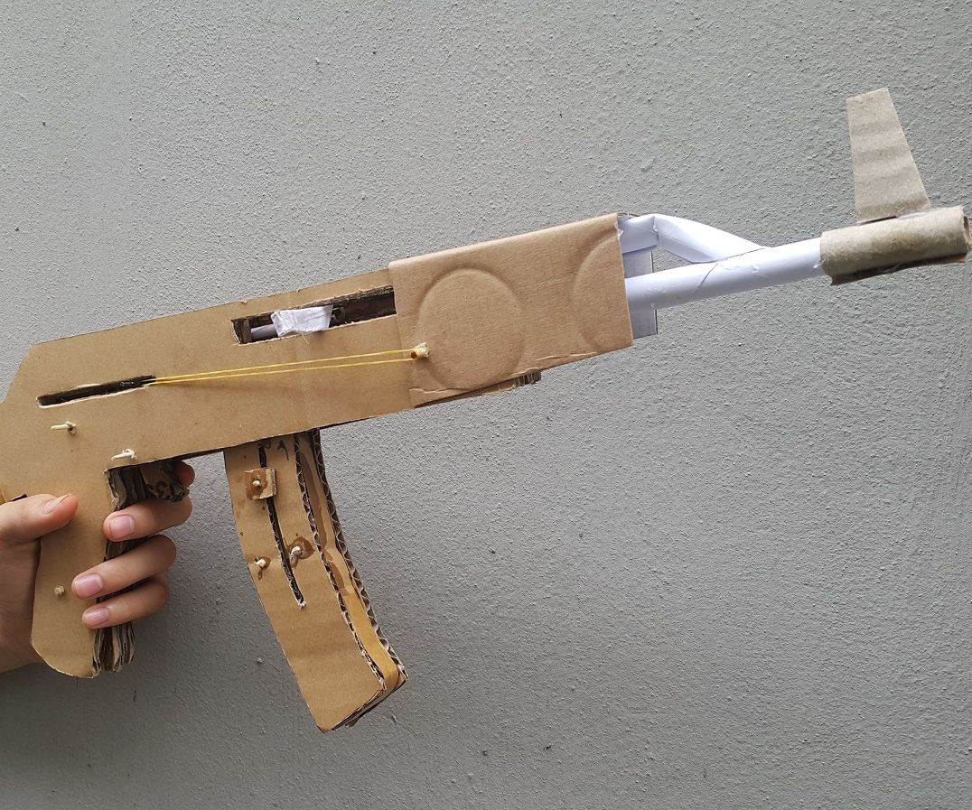 Cardboard AK-47 That Shoots Actually