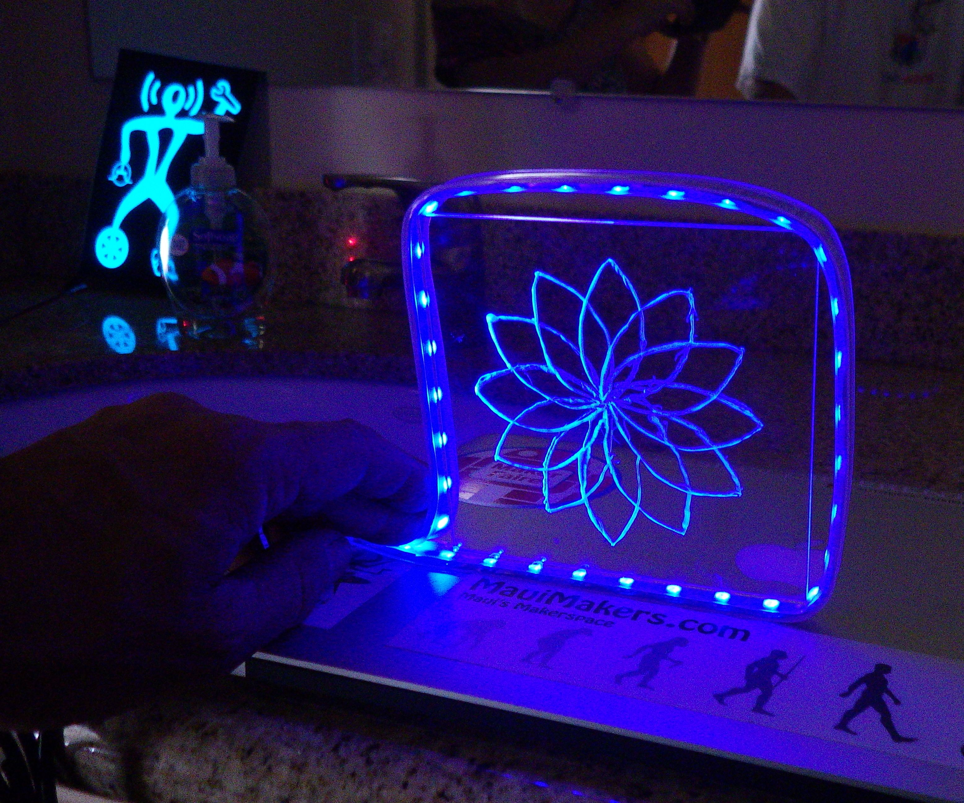 Engraved Acrylic with LED Lights at MauiMakers!