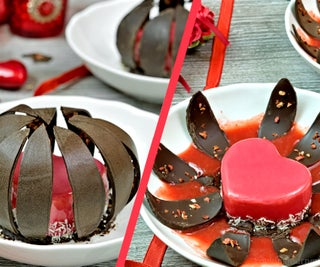 Heart Shaped Chocolate Dessert With Mirror Glaze