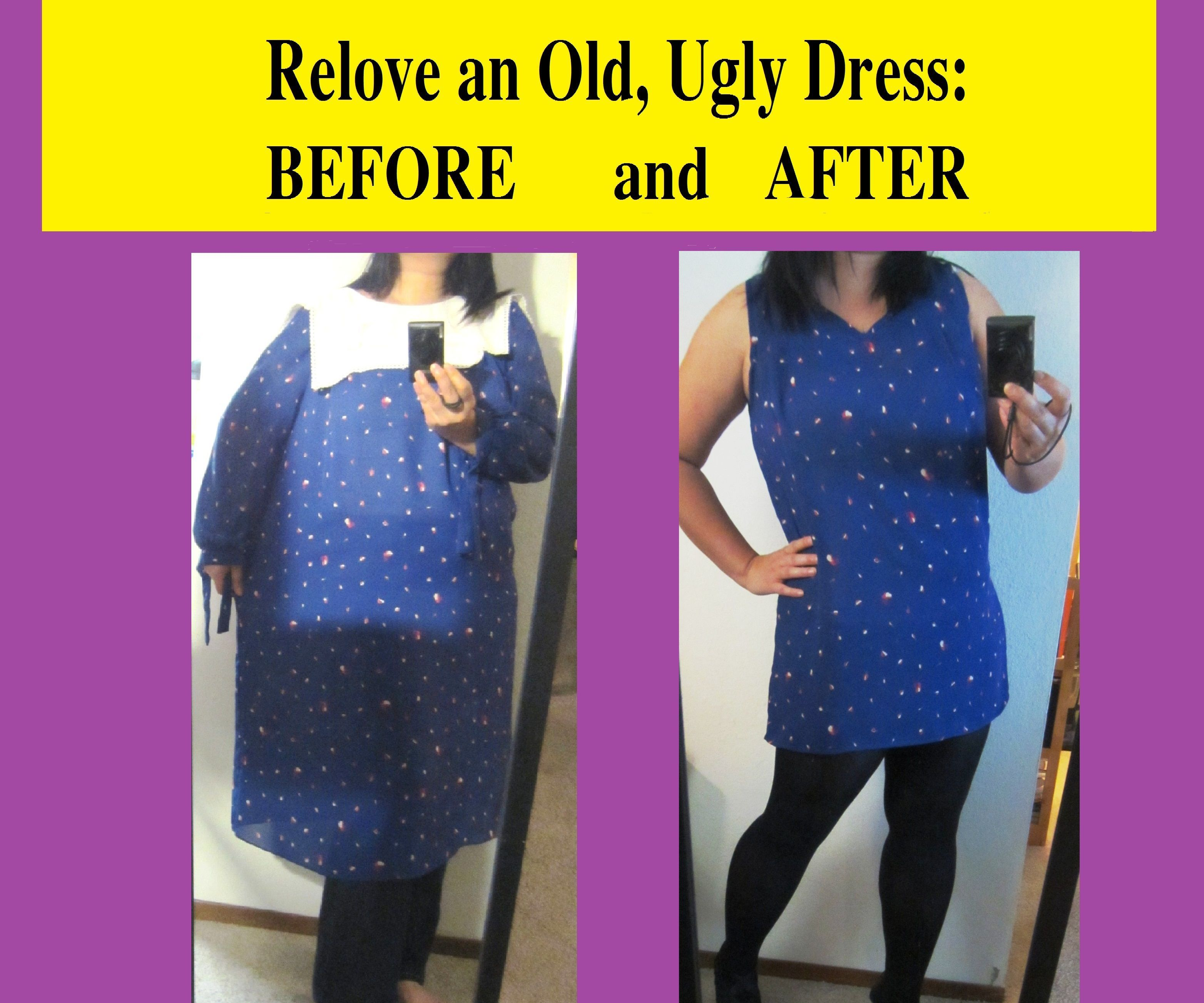 Relove an Old, Ugly Dress: Before and After (w/ Bonus Infinity Scarf)