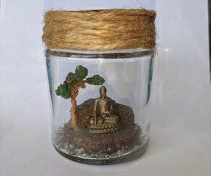 冥想在一个瓶子里的佛