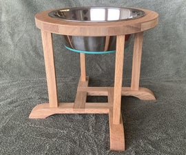 Oak Dog Bowl Stand