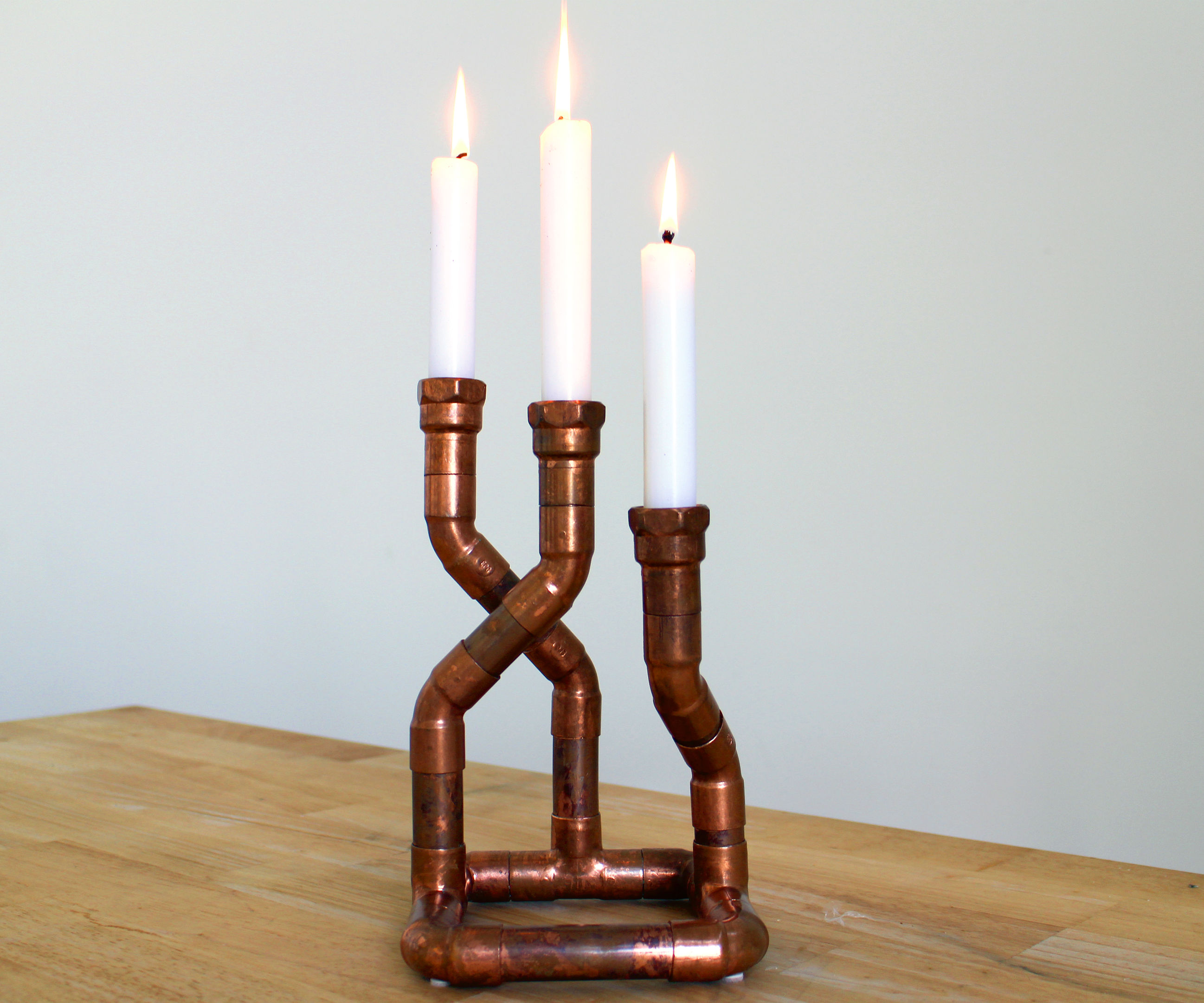 Copper pipe candelabra