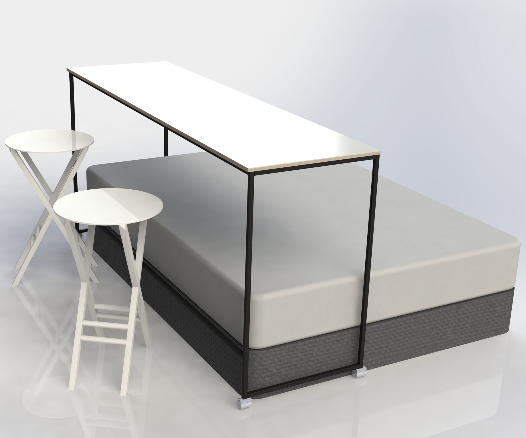 Over-The-Bed Whiteboard Worktable