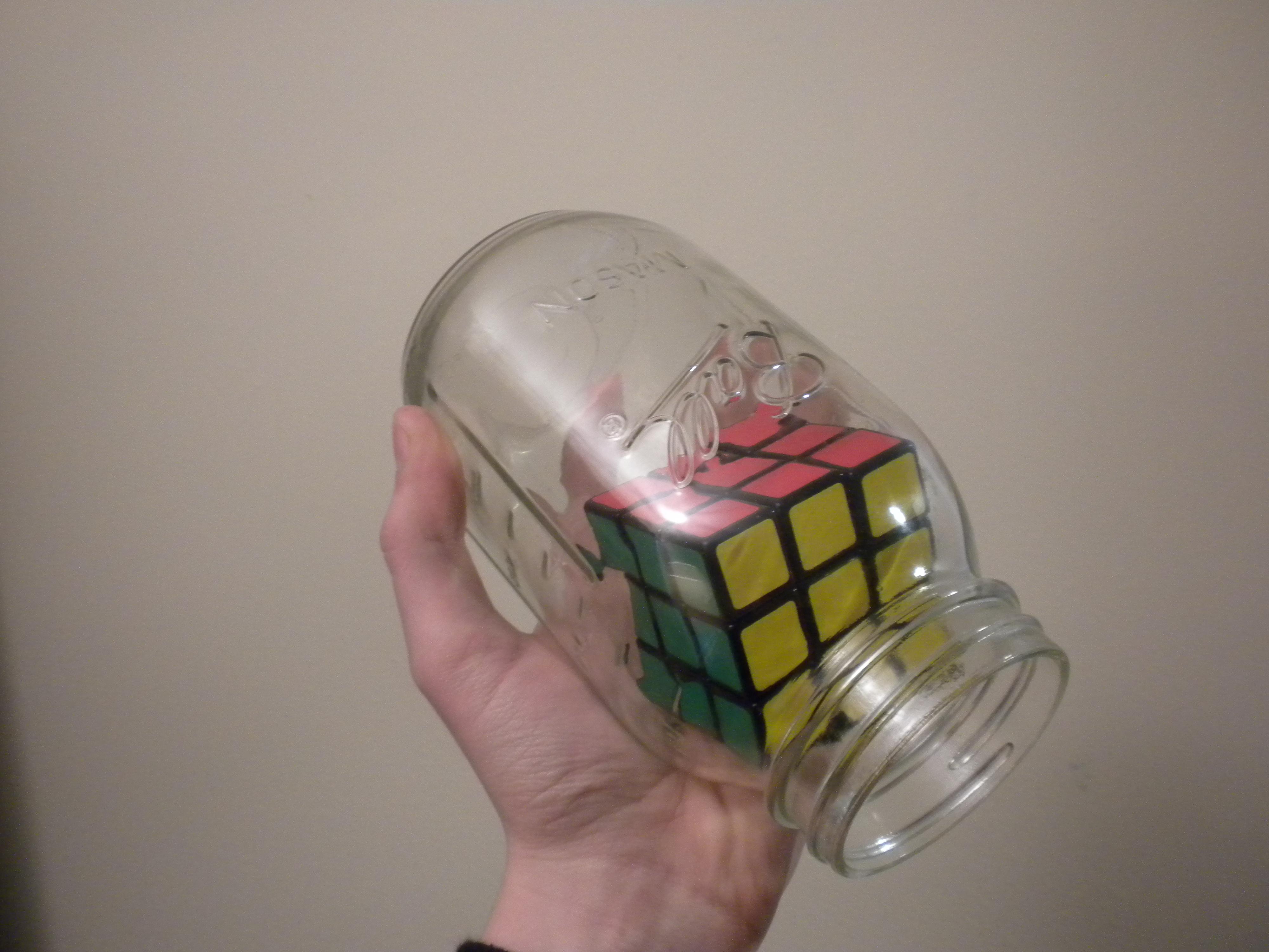 """""""impossible"""" Rubik's Cube in a bottle / jar"""