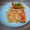 Baked Chicken Legs With Sauerkraut and Potatoes