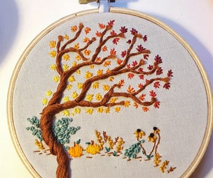 Autumn Embroidery Wall Hanging