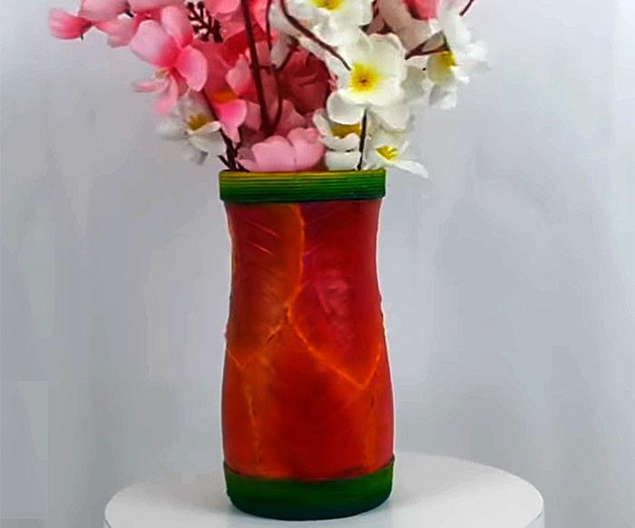 How to Make Flower Vase Using Peepal Leaves and Plastic Bottle?
