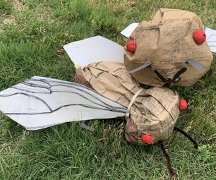 Giant Cicada Sculpture Using a Paper Lunch Bag