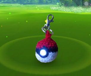 Crochet Pokeball Keychain Flashlight
