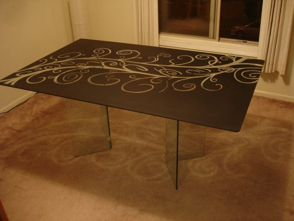"""Glass Dining Room Table """"Etching"""""""