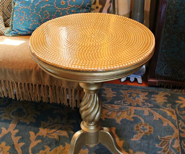 Pearl and Resin Table Makeover